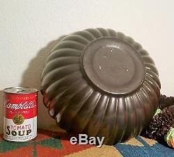 10.50 BLACK BAUER vtg studio art pottery tracy irwin half pumpkin ribbed bowl