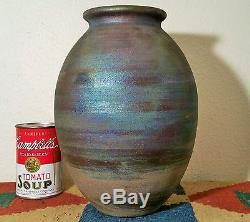 10 JEREMY DILLER vtg raku studio pottery vase j calif arts & crafts sculpture