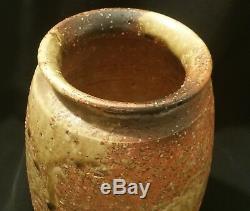 10 MCM japanese stoneware studio art pottery vase vtg drip glaze asian jug urn