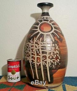 15 MCM deer vtg studio art pottery oregon pacific stoneware Bennett Welsh vase