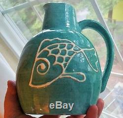 1948 ORCAS ISLAND POTTERY vtg seattle studio art puget sound fish pitcher vase