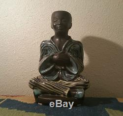 1950s soholm AMH vtg studio art pottery chinese statue danish modern table lamp