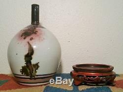 1971 TOM COLEMAN vtg studio art pottery bulbous vase thomas japanese crackle