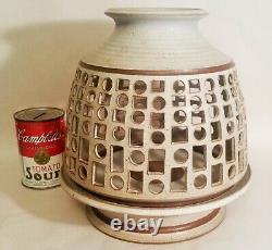 1979 MCM OCCHI large vtg zion studio art pottery votive candle table sculpture