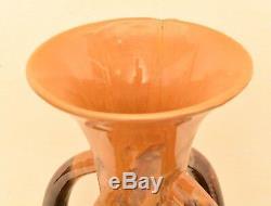 2 HUGE Signed Studio Drip Glaze Pottery Vases Handles Mid Century Floor Vintage