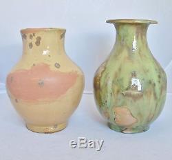 2 Vintage Mid Century Signed ROSE DODDS Studio Art Pottery Vases (6.4 & 6.9)