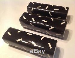 3 Vtg 80s RARE Dorothy Hafner Studio Vases Memphis Design Black & White Signed