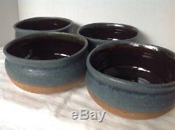 4 Marvin Garner Studio Pottery Stoneware Bowls Vintage Signed