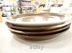 4 Vintage Mikasa Ben Seibel Potters Art Studio Kiln Brown Dinner Plates 10 3/4
