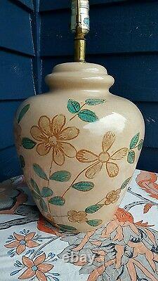 70s Boho VINTAGE LAMP FLOWER GINGER JAR + woven Basket Shade