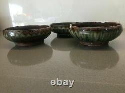 ABUJA Pottery set of three wonderful vintage bowls by LADI KWALI