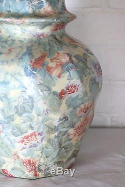 A Large Vintage Ceramic Table Lamp Floral Decoupage Global Studios Cornwall