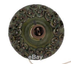 A studio pottery lamp Horse design Vintage Midcentury Green glaze