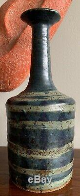 Amazing Vintage 70s Studio Pottery Stoneware Vase Mid Century Modern Signed
