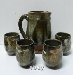 Australian Pottery Harry Memmott Jug And 4 Cups Vintage Studio Artist Signed