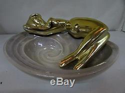 Australian Pottery Naked Gold Lady Ashtray Bowl Vintage Studio Ceramics Wembley