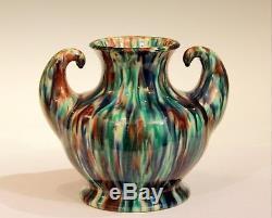 Awaji Pottery Art Deco Japanese Vintage Studio Muscle Vase Flambe Glaze C 1930
