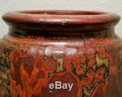 BIG 8.5 louis mideke mcm vtg studio art pottery rust vase pacific rim seattle