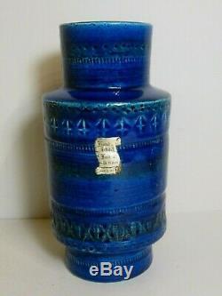 BITOSSI Italian Studio Pottery Vase Blue Rimini Vintage Mid-Century 20.5 cm Tall