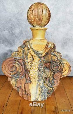 Bernard Rooke vintage MidCentury Modern Brutalist studio pottery BOTTLE decanter