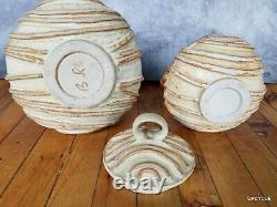 Bernard Rooke vintage Mid Century Modern Brutalist studio pottery 2 biscuit jars
