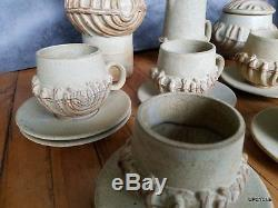 Bernard Rooke vintage Mid Century Modern Brutalist studio pottery Coffee set