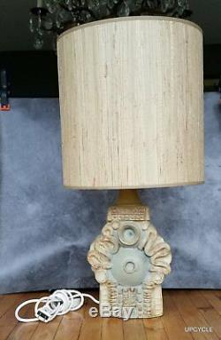 Bernard Rooke vintage Mid Century Modern Brutalist studio pottery lamp with shade