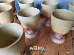 Bernard Rooke vintage Mid Century Modern Brutalist studio pottery set 8 goblets