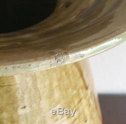 Big Japanese Modernist Studio Pottery Vase Lamp Base Artist Signed 1950s Vintage