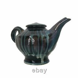 Bill Campbell Studio Art Pottery Tea Pot Creamer Sugar Cups Saucers Signed Vtg