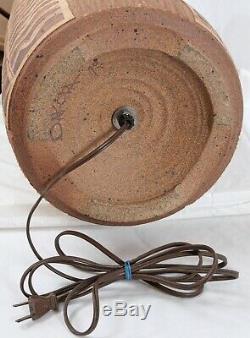 Bob Sakoda 1979 Studio Pottery Incised Abstract Vintage Table Lamp Zig Zag