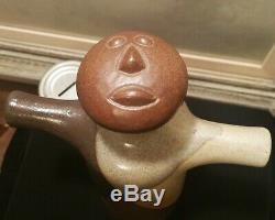 CALIF MOD! Vtg studio art pottery craft mcm figural barware decanter face bottle