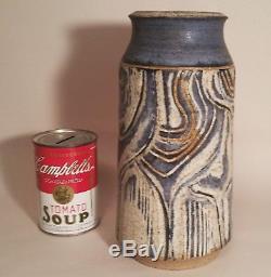 CHARLES COUNTS vtg MCM studio art pottery blue vase abstract brutalist sculpture