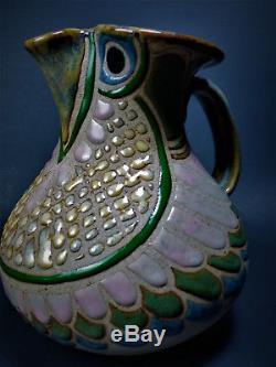 Cathra Anne Barker 1970 Vintage Sunstone Studio Art Pottery Owl Pitcher Signed