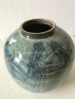 Charles Counts, Gorgeous Blue Studio Art Ceramic Vase Pottery Signed Vintage, 6