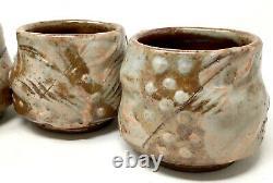 Clay Pottery Drip Glaze Cups Vtg Signed Studio Art Lustre Coffee Mugs Set/4 EUC