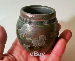 DILLER jeremy vtg studio art pottery raku wild horse western cowboy vase bowl