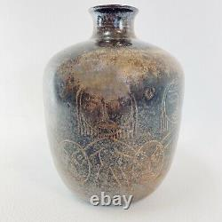 Edwin and Mary Scheier Sgraffito Vase Studio Art Pottery vtg