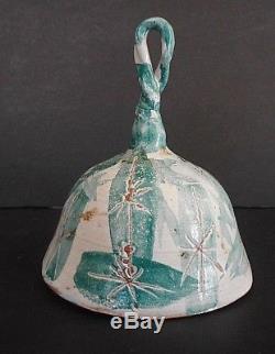 Estelle Halper Vintage Studio Art Pottery Bell Volcanic Turquoise Star Bell