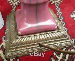 FULPER arts crafts studio pottery vtg table lamp flambe pink red drip glaze urn