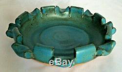 Frank Matranga blue ceramic ashtray 6.5 pottery signed studio vintage handcraft