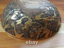 Gene Lodi Bowl Studio Pottery Vtg MCM Modern Signed Numbered Large Brown Gold