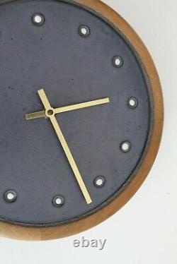 Gordon Jane Martz Marshall Vtg Mid Century Modern Studio Pottery Wood Tile Clock