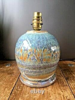 Gorgeous Retro 60's 70's Studio Pottery Lustre Glazed Bulbous Lamp Base Vintage