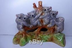 Group Of Koalas In Gum Tree Branch Australian Pottery Ceramic Studio Vintage
