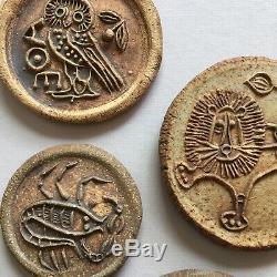 Hal Fromhold rare set of 7 Medallions Bertil Vallien vintage studio pottery