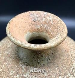 Heino Style Studio Art Pottery Weed Vase Raku Stoneware Mid Century Signed VTG