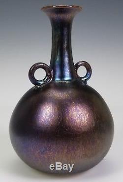 Hideaki Miyamura Vintage Japanese American Studio Art Pottery Iridescent Vase