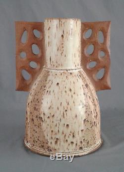 Huge Vintage MID Century Winged Vase Studio Art Pottery Brutalist Pearson Style