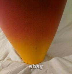 Huge Vintage Modernist CHERYL WILLIAMS Rainbow Ombre Raku Studio Pottery Vase